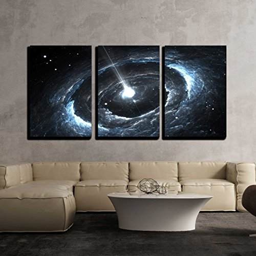"""wall26 - 3 Piece Canvas Wall Art - Highly Magnetized Rotating Neutron Star - Modern Home Decor Stretched and Framed Ready to Hang - 24""""x36""""x3 Panels"""