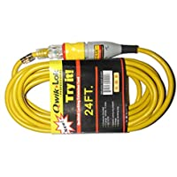 QWIKLOK Qwiklok Locking Extension Cord, 24, Yellow