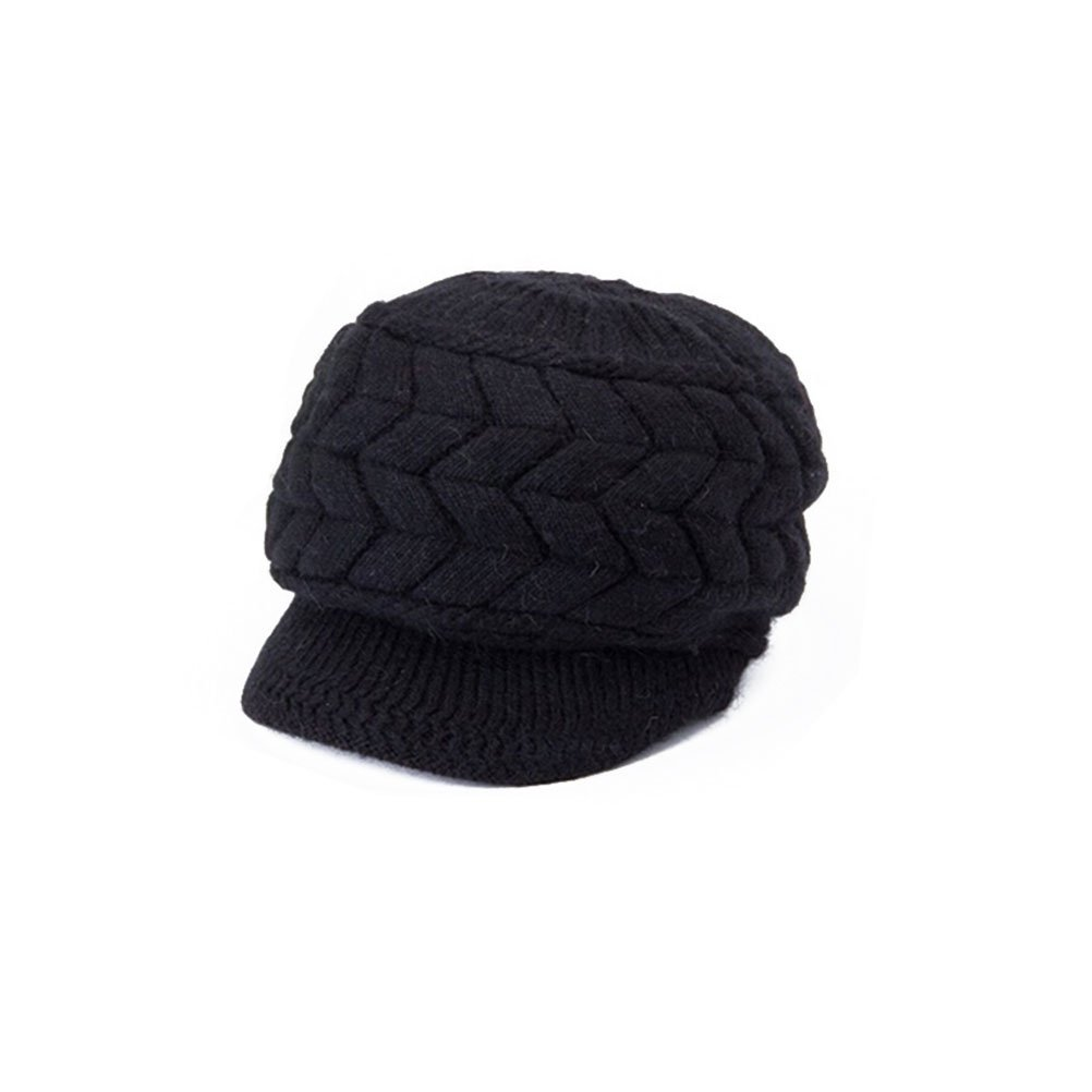 Tinksky Women Winter Warm Knit Hat Wool Snow Ski Cap With Visor Gift for Friends (Black)