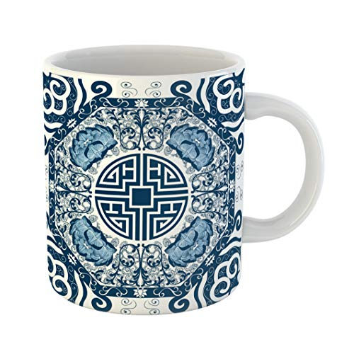 Emvency Coffee Tea Mug Gift 11 Ounces Funny Ceramic Blue Pattern Chinese Peony China Pottery Lotus Gifts For Family Friends Coworkers Boss Mug