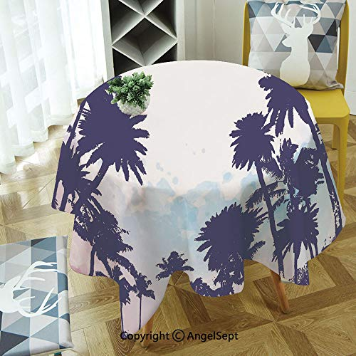 Round Tablecloth Miami South American Plant Forest Tropic Natural Palm Trees Art Print for Thanksgiving, Catering Events, Dinner Parties, Special Occasions or Everyday Use, 55