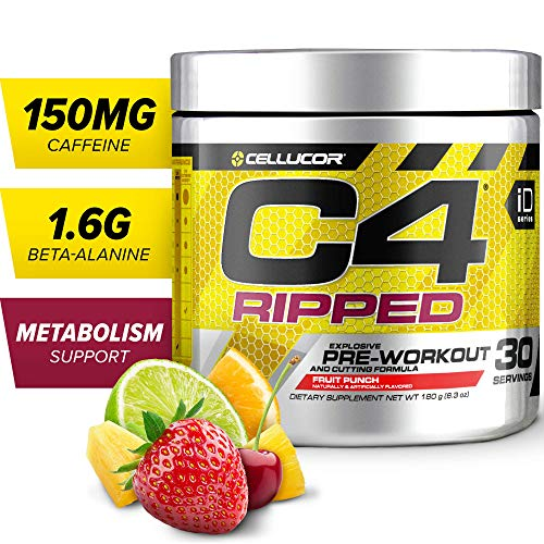Cellucor, C4 Ripped, Explosive Energy and Cutting Formula, Pre-Workout Supplement, Fruit Punch, 30 Servings, 180 g (8.34 oz)