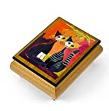 Handcrafted Italian Ercolano Musical Jewelry Box - ''Together'' By Rosina Wachtmeister - Blue Hawaii (L Robins)