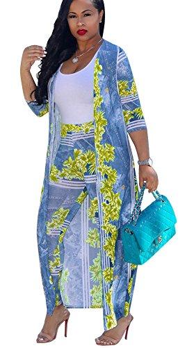 - Mintsnowin Women's Casual Floral Print Long Sleeve Top Pants 2 Pieces Jumpsuits Rompers 2XL