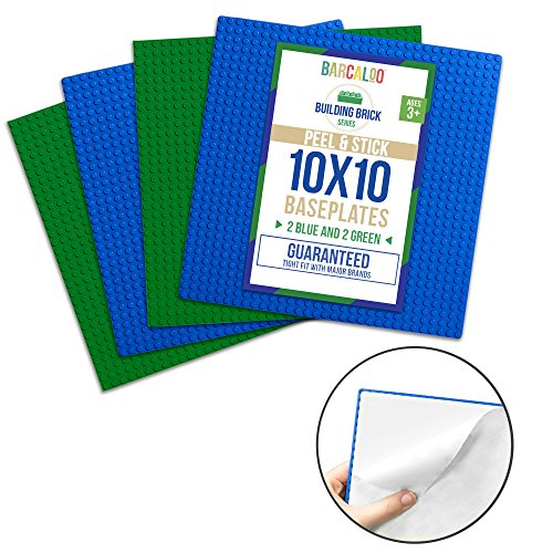 Peel-and-Stick Baseplates - 10 Inch x 10 Inch Baseplate - 4 Pack (2 Blue, 2 Green) Compatible with All Major Brands - Peel Stick