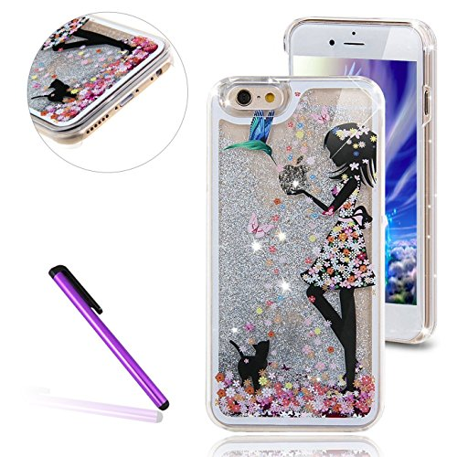 Case Protective Silver Hard Stars - iPhone 6 Case,iPhone 6S Case,LEECO 3D Brilliant Luxury Bling Glitter Liquid Floating Stars Moving Hard Protective Phone Case Cover for Apple iPhone 6 / 6S 4.7 inch (Flower Girl Cat, Silver)