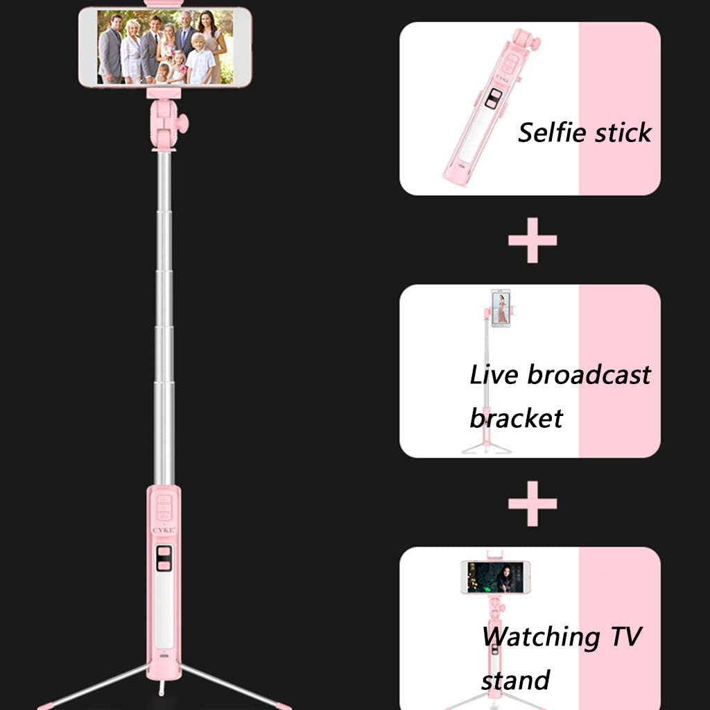 Yqqcf Mobile Phone Stand with Led Ring Light One-Piece Lazy Take a Photo Artifact Multifunction 3 Brightness for Shooting Make Up Live Broadcast,White,80CM
