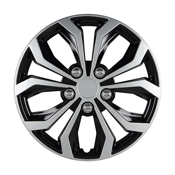 Pilot WH553-14S-BS Universal Fit Spyder Black/Silver Finish 14 Inch Wheel Covers – Micro – Set of 4