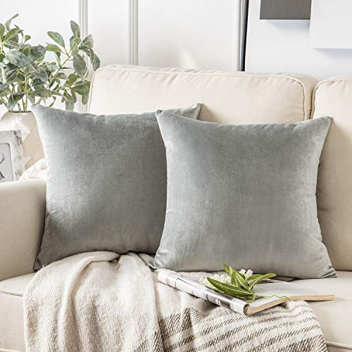Phantoscope Pack of 2 Velvet Decorative Throw Pillow Covers Soft Solid Square Cushion Case for Couch Mist Grey 20 x 20 inches 50 x 50 cm (Grey Cushions Silver)