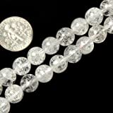 8mm Round Gemstone Crackle Rock Crystal Beads Strand 15 Inches Jewelry Making Beads
