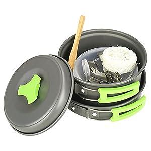 HUKOER Camping Cookware Mess Kit - 12 Pcs Cooking Utensils Gear & Hiking Outdoors Cookset   Lightweight, Compact & Durable Pots Pans Bowls & Griddles - Free Folding Spork, Nylon Bag