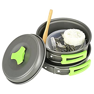 HUKOER Camping Cookware Mess Kit - 12 Pcs Cooking Utensils Gear & Hiking Outdoors Cookset | Lightweight, Compact & Durable Pots Pans Bowls & Griddles - Free Folding Spork, Nylon Bag