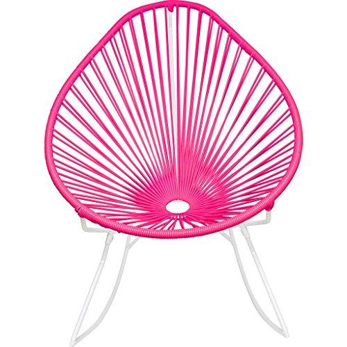 Innit Designs Junior Acapulco Rocker Chair | White/Bubblegum Pink (Acapulco Furniture)