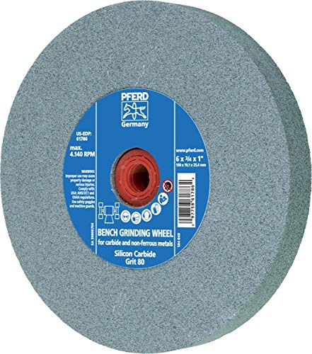 PFERD 61786 Bench Grinding Wheel, Silicon Carbide, 6'' Diameter, 3/4'' Thick, 1'' Arbor Hole, 80 Grit, 4140 Maximum RPM by Pferd