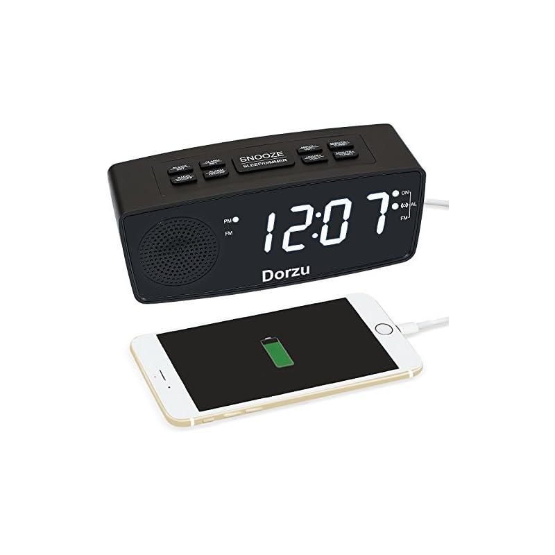 Dorzu Alarm Clock Radio,FM Digital Clock Radio with USB Fast Charger for Bedroom