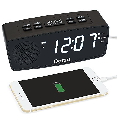 Dorzu Alarm Clock Radio,FM Digital Clock Radio with USB Fast Charger for Bedroom