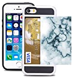 i phone 5 case gems - Credit Card ID Holder Wallet Case For iPhone 5/5S/SE Dual Slim Shock-Resistant Hybrid Armor Case - Holds 2 Cards & Cash By Corpcase. Designer ID / CARD Slider Pattern Abstract White Marble Gemstone