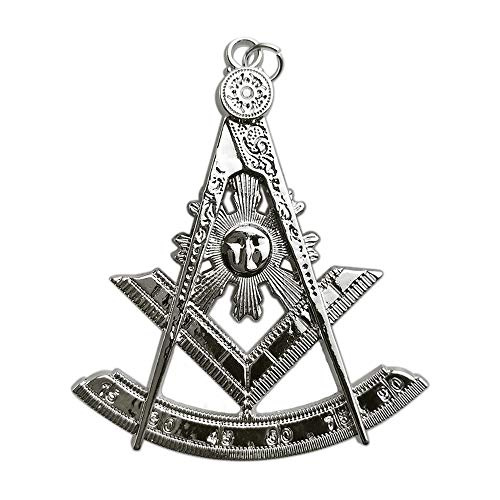 (Past Master Masonic Collar Jewel Square & Compass Silver Plated Blue Lodge Gift)