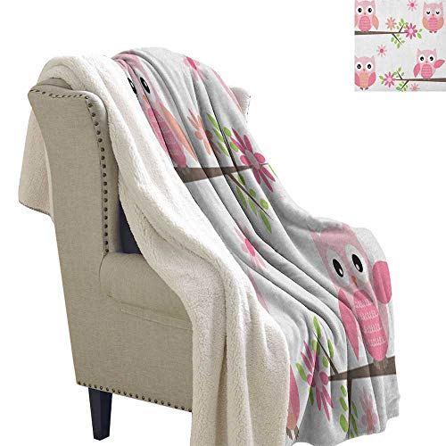 Suchashome Owl Throw Blankets Cute Baby Owls Waving in The Floral Tree Springtime Artful Girly Design Print Throw Blanket 60x78 Inch Pink Green White ()