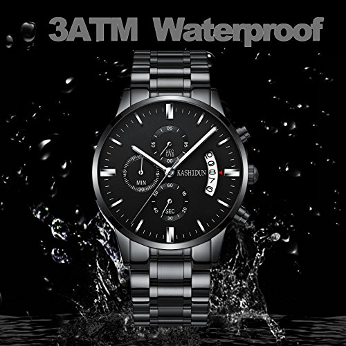 KASHIDUN Men's Watches Luxury Sports Casual Quartz Wristwatches Waterproof Chronograph Calendar Date Stainless Steel Band Black Color