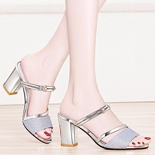 No. 55 Shoes Pantofole Ladies Estate Moda Vestire e Raffreddare Trascinare Due Scarpe Tacco Alto Scarpe,US7.5/EU38/UK5.5/CN38,Argento