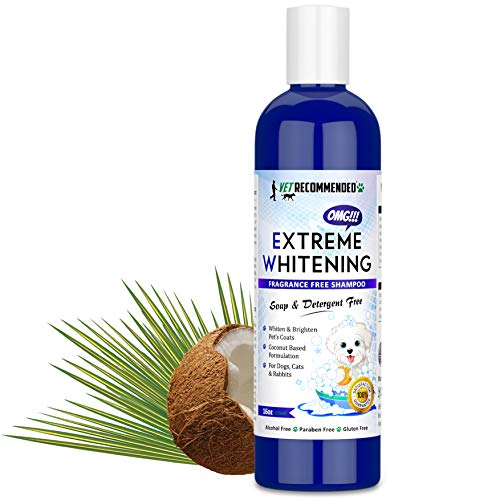 (Vet Recommended OMG Extreme Dog Whitening Shampoo (16 Oz /473ml) | Coconut Based 100% Safe - Free from Soaps, Detergent, Bleach & Fragrance | Make Your Dog's Coat Clean, Silky and Smooth. Made in USA)