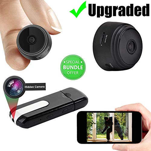 JCT Mini Hidden Camera-Wireless Hidden Home WiFi Security Cameras -USB Camera Bundle Wireless Camera- with App 1080P Night Vision Motion Sensor & Case Motion Activated Indoor Outdoor Small