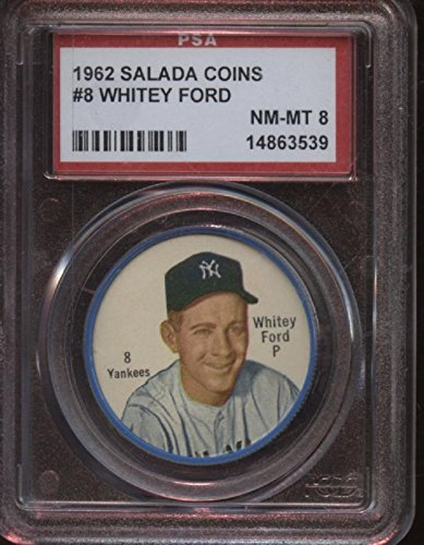 1962 Salada Baseball Coin #8 Whitey Ford New York Yankees PSA 8 (Salada Baseball Coins)