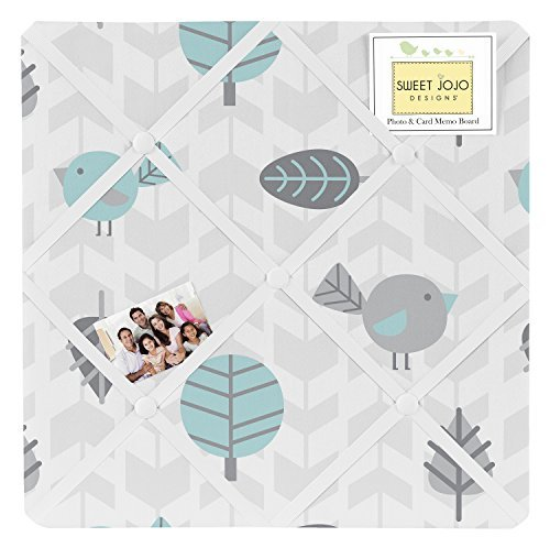 Sweet Jojo Designs Bird Print Fabric Memory/Memo Photo Bulletin Board for Earth and Sky Collection by Sweet Jojo Designs