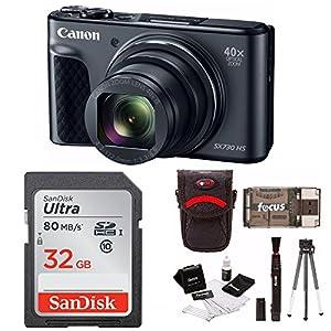 Canon Powershot SX730 Digital Camera (Black) + 32GB Card + Bundle
