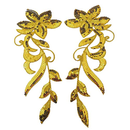(Ximkee 1 Pair Dancing Flower Sequin Sew Iron on Applique Embroidered Patches-Gold)