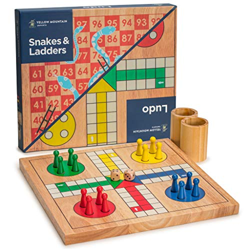 Yellow Mountain Imports Wooden Snakes and Ladders | Ludo Game Set, Reversible, 2 Games in 1