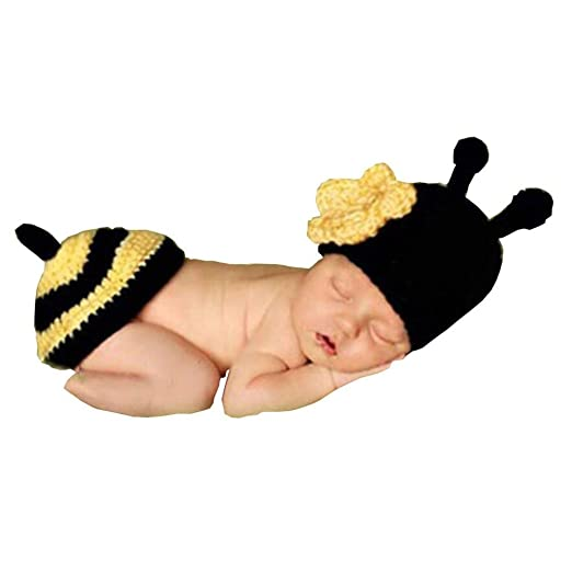 5e3e8269a Image Unavailable. Image not available for. Color: Vpang Newborn Baby Photo  Shoot Props Boys Girls Crochet Knitted Hat Beanie Hat Bee Outfits Costume
