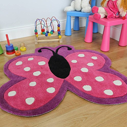 Girls Soft Pink Polka Dot Butterfly Mat Non Shed Area Rug - 2'11