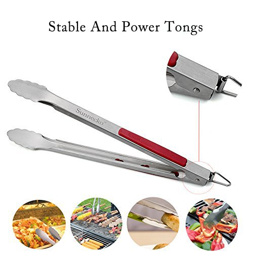Grill Tool Set 3 Piece Stainless Steel Grill Accessories, BBQ and Spatula,Tongs,Fork with Aluminium Case. The Ultimate Grilling/BBQ Accessories by Sennecko. by Sunnecko (Image #6)