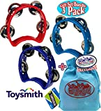 Li'l Music Kids Small Tambourine (5.25'' x 4.5'') Blue, Red & Purple Gift Set Party Bundle with Bonus Matty's Toy Stop Storage Bag - 3 Pack