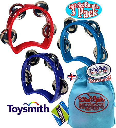 Li'l Music Kids Small Tambourine (5.25'' x 4.5'') Blue, Red & Purple Gift Set Party Bundle with Bonus Matty's Toy Stop Storage Bag - 3 Pack by Toysmith