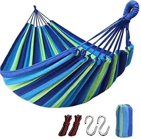 HUAZHIJIN Garden Canvas Cotton Hammock Single Two People Load Bearing 450 Lbs with Carrying Bag for Indoor Outdoor Garden Patio Park Blue 260150cm