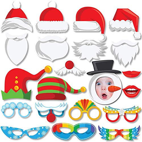 Christmas Photo Booth Props Kit - Funny Xmas Photobooth Props for Pictures - Party Accessories and Decorations for Christmas and New Year Eve Parties (Xmas Funny Photos)