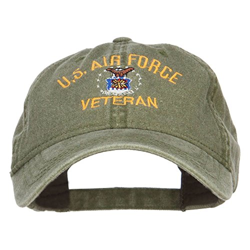 E4hats US Air Force Veteran Military Embroidered Washed Cap - Olive OSFM (Baseball Veteran Cap Embroidered)