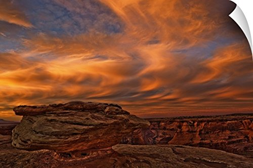 Robert Postma Wall Peel Wall Art Print entitled Vibrant Sunset Over The Rim Of Canyon De Chelley, Arizona, USA