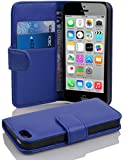 Cadorabo - Book Style Wallet Design for Apple iPhone 5C with 2 Card Slots and Money Pouch - Etui Case Cover Protection in NAVY-BLUE