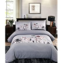 Ammybeddings Soft Comforter Sets Twin Size,1 Grey Duvet Covers Twin and 1 Bed Sheet,1 White Down Comforter and 2 Pillow Shams,5 PCS Design Adorable Puppies Bedding Sets,Modern Luxury Bedroom Sets