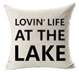 Zhi Fan Best Gift Funny Inspirational Sayings Lovin' Life at The Lake Simple Letters Cotton Linen Decorative Home Office Throw Pillow Case Cushion Cover Square 18''X18''