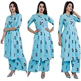 EXPORTHOUSE Women Cotton Latest Kurti Palazzo Set 3/4 Sleeve Round Neck