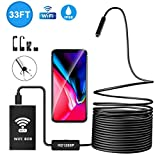 USB Endoscope, Searick 1200P Semi-rigid Wireless Wifi Borescope Inspection Camera 2.0 MP HD Snake Camera for Android & IOS Smartphone, Iphone, Samsung, Ipad, Table, Black (33FT)