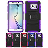 Galaxy S7 Edge Case, HLCT Rugged Shock Proof Dual-Layer Case with Built-In Stand Kickstand for Samsung Galaxy S7 Edge (Black/Purple)