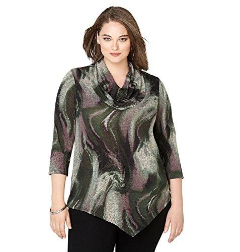 -AVENUE Women's Tie Dye Asymmetrical Cowlneck Top, 22/24 Olive