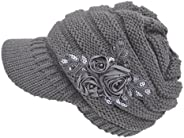 MOHSLEE Women's Cable Knit Newsboy Visor Cap Hat with Sequined Flower Warm B