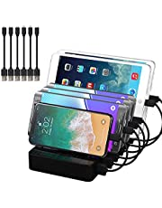 DGStore Charging Station 6 Port 5V 50W Charging Dock for Multiple Devices Multi Port Charger Station with Individual Switch Control, 6 Short Cables Included